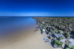 North Sea Breakwater In Long Exposure Stock Images