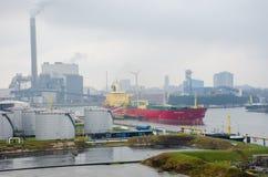 Hafnia America Cargo ship outside industrial area on North Sea Canal. North Sea Canal Amsterdam Netherlands - 1 April 2018: Hafnia America Cargo ship outside Stock Photos