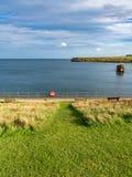 North Sea coast in Seaton Sluice, England, UK stock photography