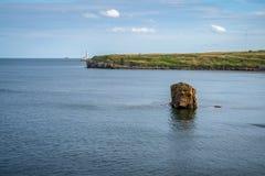 North Sea coast in Seaton Sluice, England, UK. North Sea coast in Collywell Bay, Seaton Sluice in Northumberland, England, UK stock images