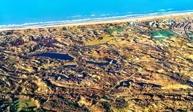 North Sea coast near Leiden in the Netherlands. Aerial view of the North Sea coast near Leiden in the Netherlands stock photo