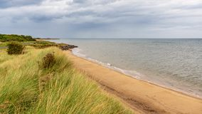 North Sea Coast in Northumberland, England, UK. North Sea Coast and the beach near Druridge Bay in Northumberland, England, UK stock photo