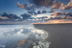 North sea coast at sunrise on Dutch island. Netherlands royalty free stock photos