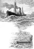 Fishing with trawl net in North sea, vintage illustration Royalty Free Stock Image