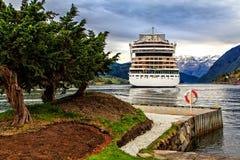 The North Sea, fjord iand ship, Norway Royalty Free Stock Photography