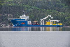 North sea giant, lying at anchor in iddefjord Stock Photography