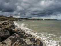 North sea horizon sea scape sea defense. Open sea horizon north sea granite rock defense Royalty Free Stock Image