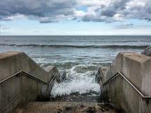North sea horizon sea scape splash steps. Open sea horizon north sea steps Stock Photo