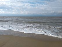 North Sea Monroe beach Bruges Belgium. Sand dunes and path and texture and waves stock images