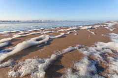North sea sand beach and blue sky Royalty Free Stock Photography
