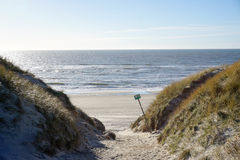 By the North Sea. In the sanddunes at `Søndervig` in Denmark - April 2017 Royalty Free Stock Photography