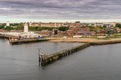 North Shields, Tyne and Wear, England, UK. September 05, 2018: View from the River Tyne at the North Shields Fish Market stock images