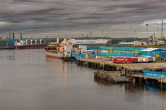 North Shields, Tyne and Wear, England, UK. September 05, 2018: View from the River Tyne towards the Port of Tyne royalty free stock images