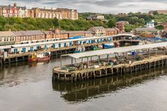 North Shields, Tyne and Wear, England, UK. September 05, 2018: View from the River Tyne at the North Shields Fish Market royalty free stock photos