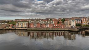 North Shields, Tyne and Wear, England, UK. September 05, 2018: View from the River Tyne towards North Shields royalty free stock photos