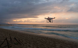 North Shore Bonsai Pipeline Hawaii Sunset Drone Flying By Stock Photo