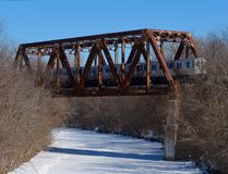 North Shore Channel Bridge With Train Royalty Free Stock Images