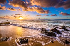 North Shore Hawaii Sunset. Sunset on the shores of the Pacific Ocean on Oahu`s North Shore in Hawaii stock photography