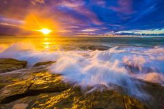 North Shore Hawaii Sunset. Sunset on the shores of the Pacific Ocean on Oahu`s North Shore in Hawaii royalty free stock photos