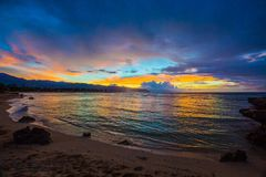 North Shore Hawaii Sunset. Sunset on the shores of the Pacific Ocean on Oahu`s North Shore in Hawaii royalty free stock images
