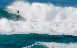 North Shore Hawaii surfer. A surfer riding a large swell on the North Shore of Oahu, Hawaii stock images
