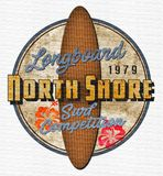 North Shore Surf Competition Retro Art. North Shore Longboard Surf Competition Retro Vintage Art Tin Sign Rustic Rusted Grunge royalty free illustration