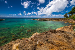 North Shore Oahu. Shark's Cove, one of best scenic stops along the popular North Shore. Sharks Cove is the second best snorkeling site in Oahu, Hawaii royalty free stock photos