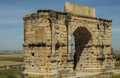 North side of the Arch of Caracalla at Volubilis. Triumphal Arch - North side of the Arch of Caracalla in Volubilis, Morocco Stock Images