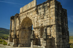 North side of the Arch of Caracalla at Volubilis. Triumphal Arch - North side of the Arch of Caracalla in Volubilis, Morocco Royalty Free Stock Image