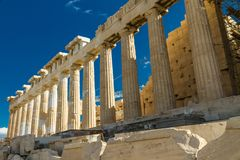 North side of the Parthenon on the Acropolis. In Athens, Greece stock photography