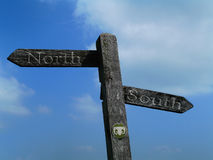 North And South. A digital image of a sign with north and south stock illustration