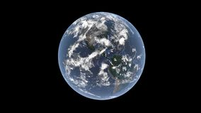 North and South America behind the clouds on a realistic globe, isolated Earth on a black background, 3D rendering, the elements o Royalty Free Stock Photos