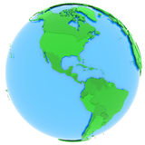North and South America on Earth. North and South America, political map of the world with countries in different shades of green,  on white background Stock Image