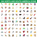 100 north and south america icons set. In cartoon style for any design vector illustration Stock Photography