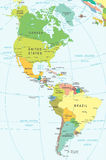 North and South America - map - illustration. Royalty Free Stock Photo