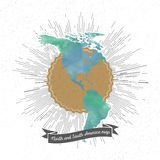 North and south America map with vintage style Stock Images