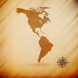 North and South America map, wooden design Stock Image