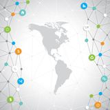 North and South America Modern infographic network Stock Photo