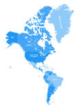North and South America vector political map in tints of soft blue Stock Image