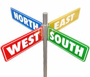 North South East West Road Signs Travel Direction 4 Way Route. Road signs marked North, South, East and West pointing you in different directions to travel on Royalty Free Stock Image