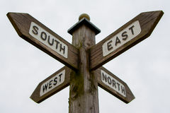 North South East West Signpost. A wooden signpost showing the four directions of the compass stock image