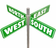 North South East West 4 Way Green Road Signs Intersection. Four green road or street signs marked North, South, East and West to illustrate or point the way for Stock Photography