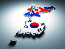 North and south korea. And 3d rocket background Royalty Free Stock Photography