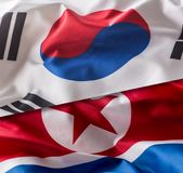 North and south korea flag. Colorful south and North Korea flag stock images