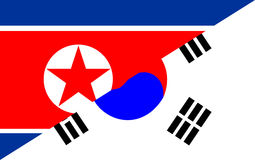 north south korea flag Stock Photography