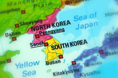 North and South Korea. Selective focus stock image