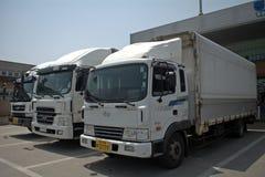 North and South Korean trucks in the DMZ, Korean Republic Stock Photos