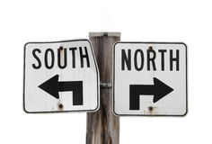 North south traffic sign isolated Royalty Free Stock Photography