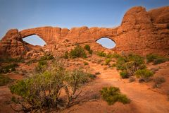 North and South Window. Arches National Park, Utah, USA Stock Photo