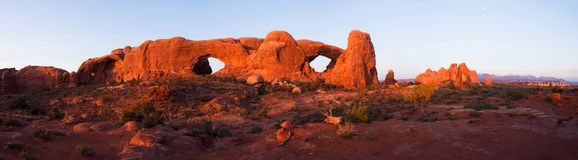North and South Window Panorama. North and South Windows at sunset - Arches National Park, Utah, USA. 1/8 sec. at f/14, ISO 100, 17mm (17-40mm lens). 5/10/06 at stock photography
